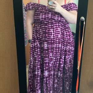 Off shoulder purple dress with pockets